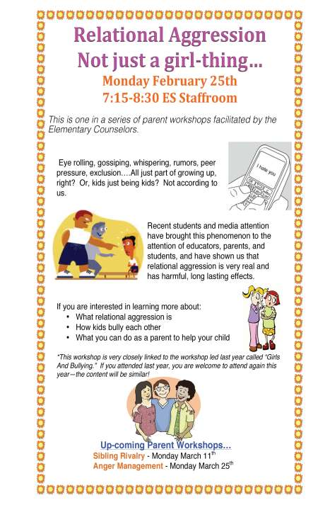 Upcoming Parent Workshop